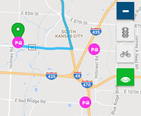 Screen shot of Park and Ride maps with points of interest toggled on.