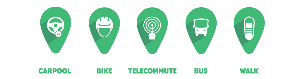 Icons of transit modes - carpool, bike, telecommute, bus, walk