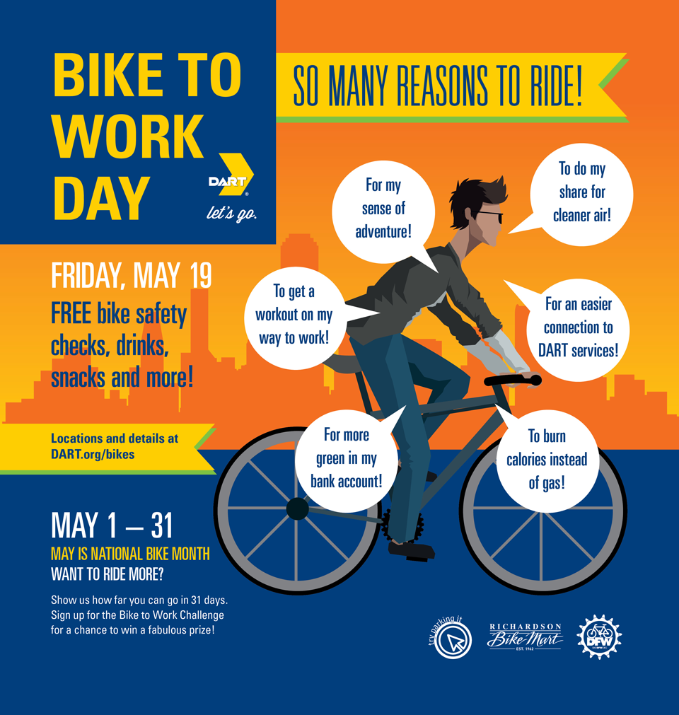 DART Bike to work day is on May 19th, 2017!